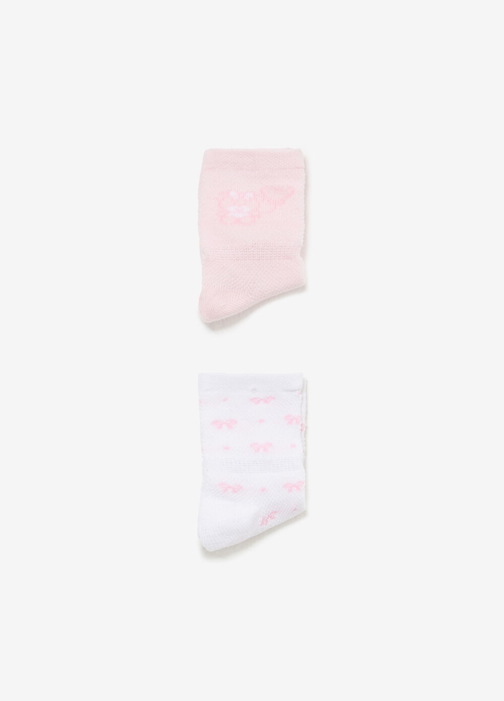 Two-pair pack solid colour and patterned socks