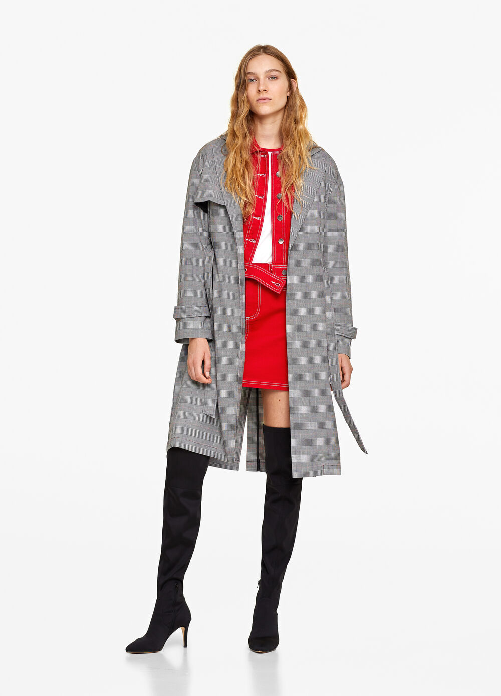 Check trench coat in stretch viscose blend