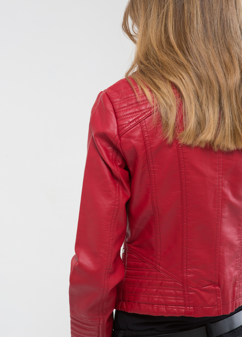 Leather look, stitched jacket image number null