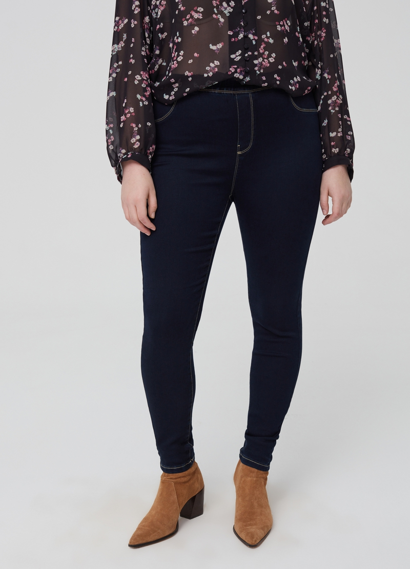 Curvy stretch jeggings with pockets image number null