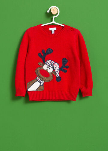 Cotton blend pullover with Christmas patch