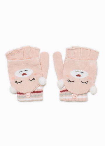 Fingerless gloves with animal mittens