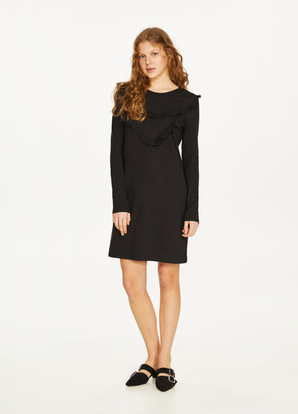 Stretch cotton dress with flounce