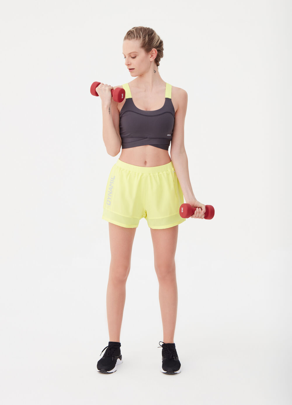 Shorts with elastic waist and print