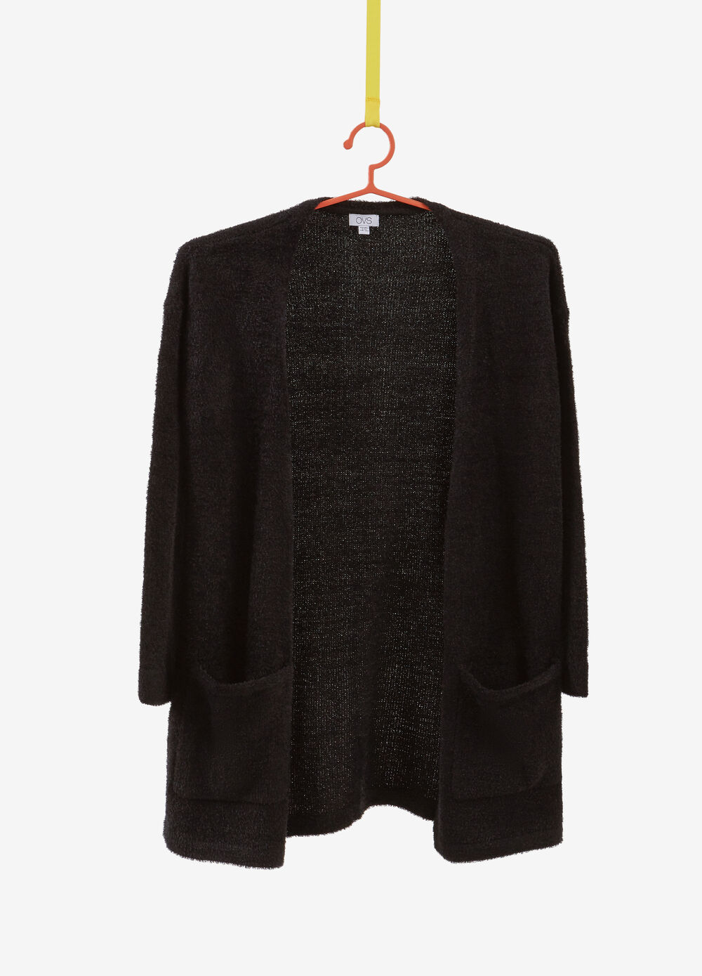 Solid colour frayed-effect cardigan.