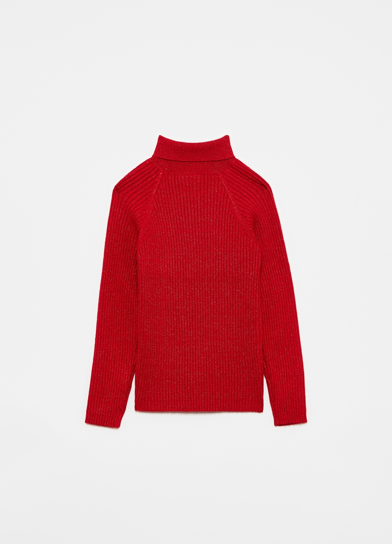 Ribbed pullover with lurex raglan sleeves image number null