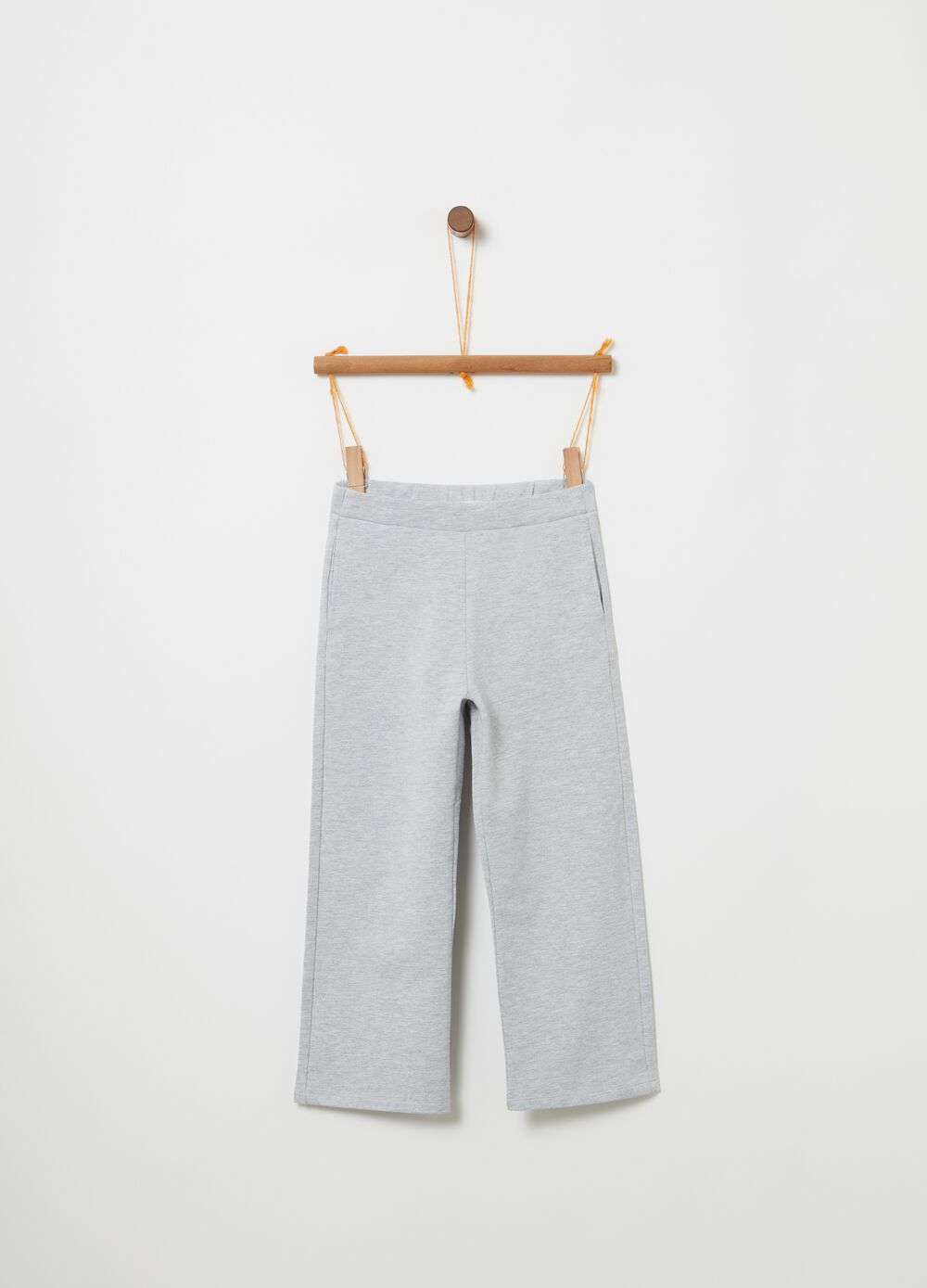 Mélange crop trousers with pockets