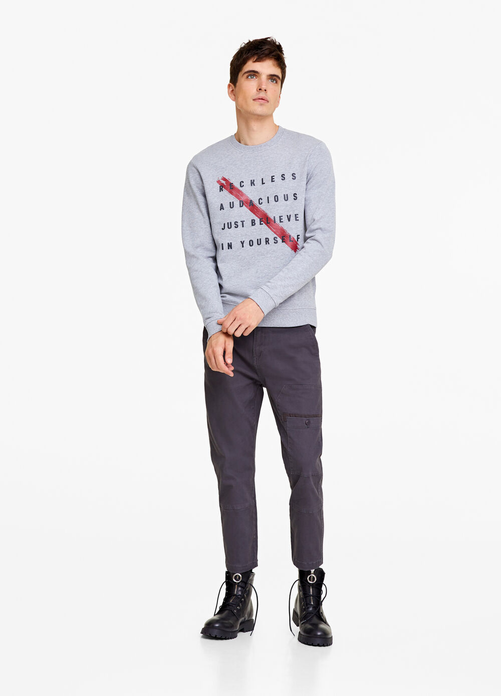 Mélange sweatshirt with lettering print