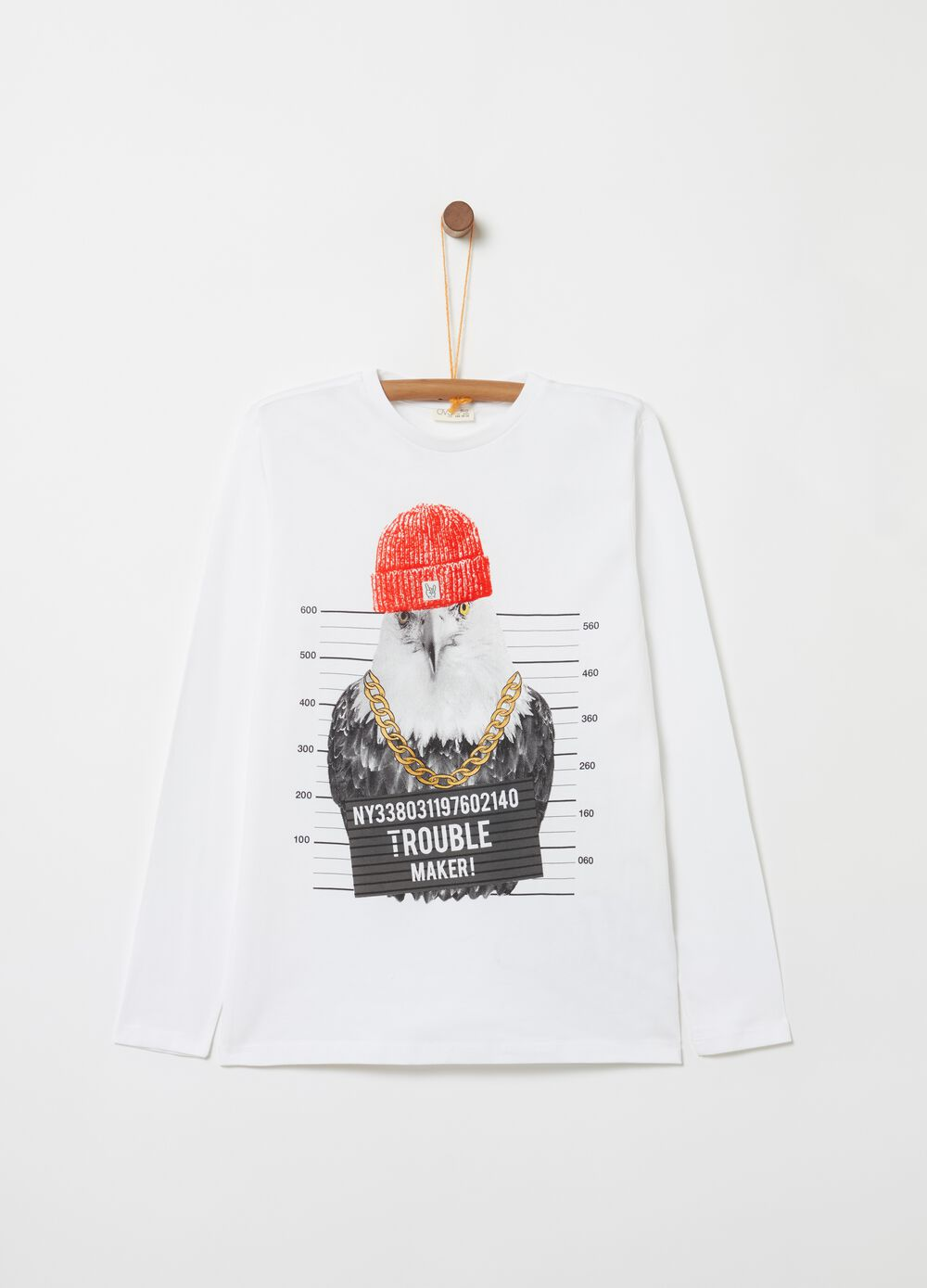 Organic cotton T-shirt with eagle print