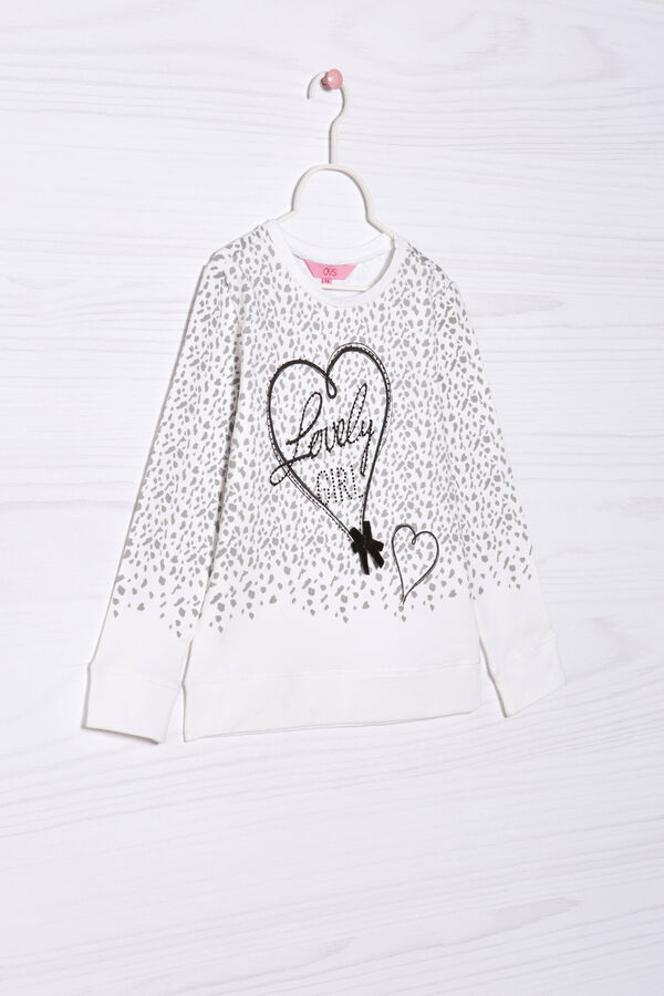 Sweatshirt with diamanté and bow | OVS
