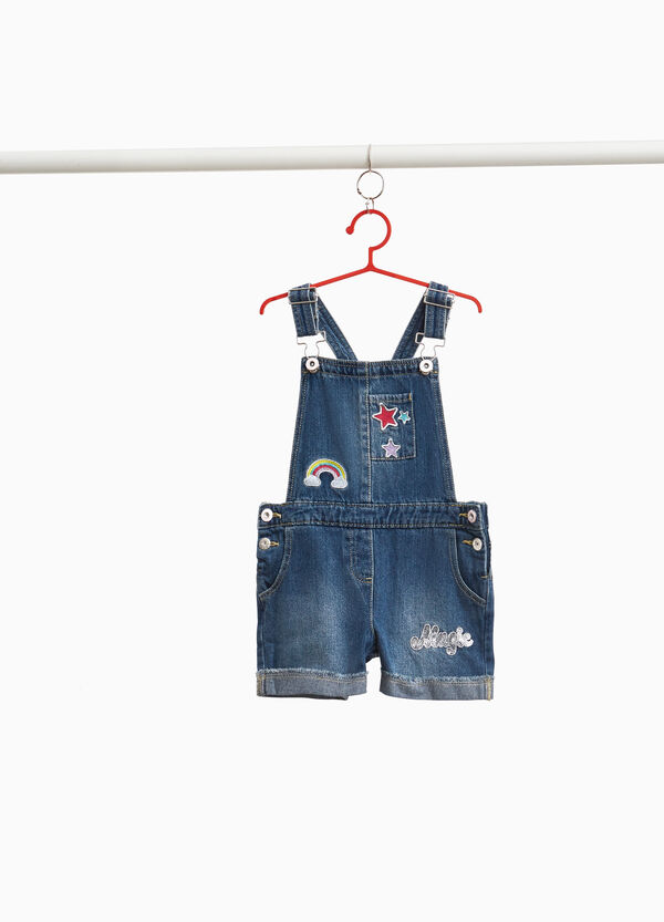 Denim dungarees with patches