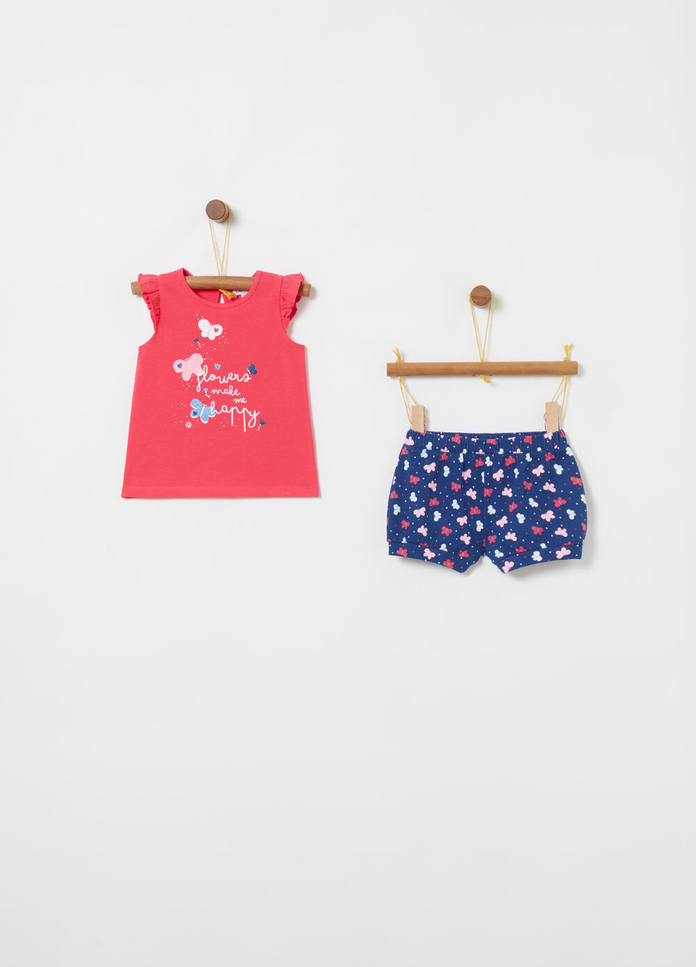 Jogging set t-shirt e shorts con farfalle