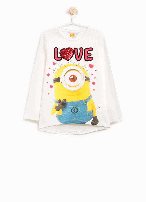 T-shirt cotone stretch Minions paillettes
