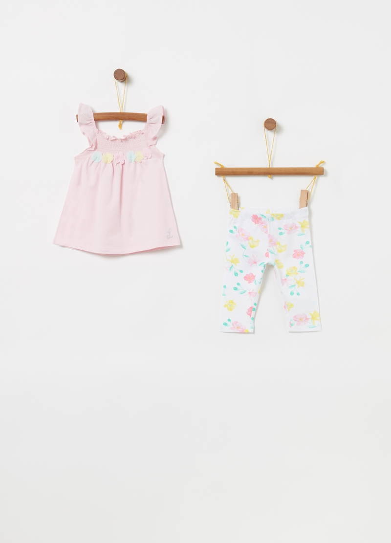 T-shirt and leggings set in floral biocotton image number null