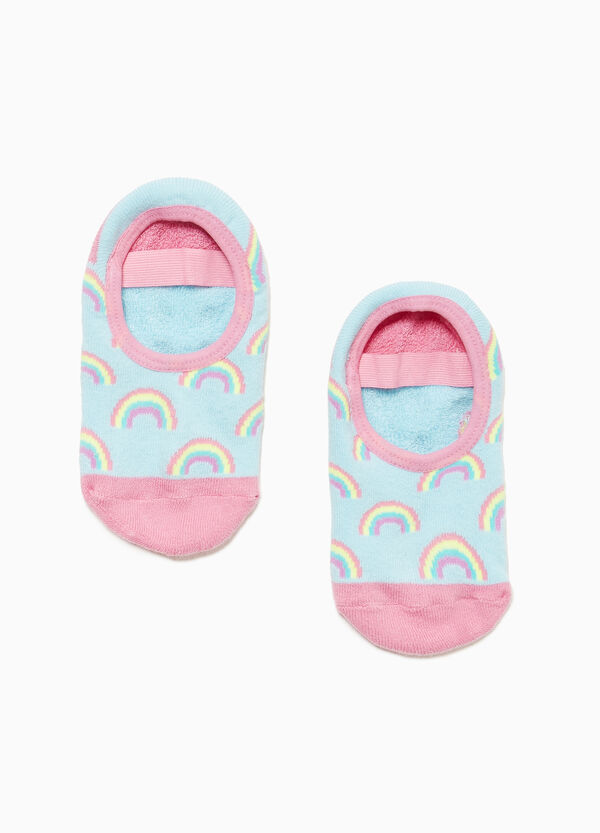 Slipper socks with rainbow pattern