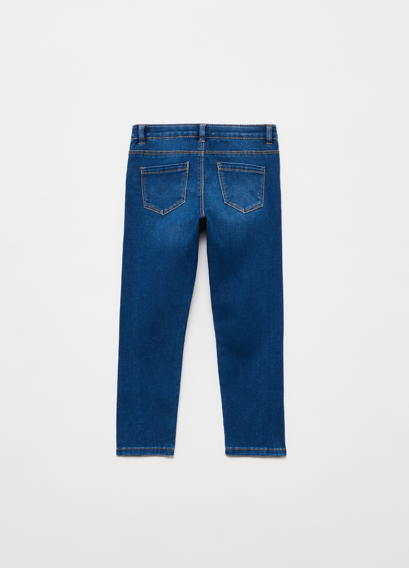 Viscose and cotton blend jeans with diamantés image number null