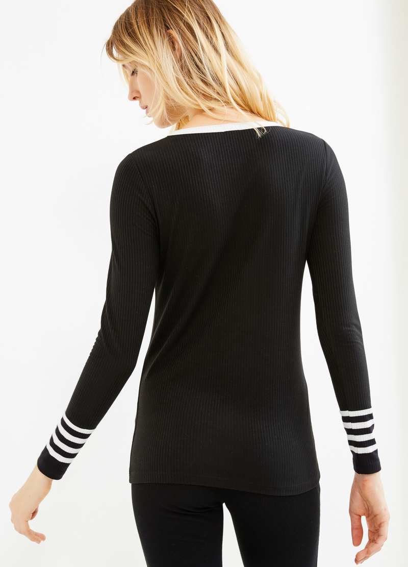Stretch ribbed T-shirt image number null