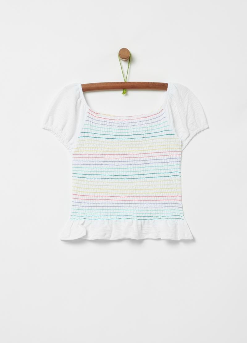 Smock-stitch striped T-shirt image number null