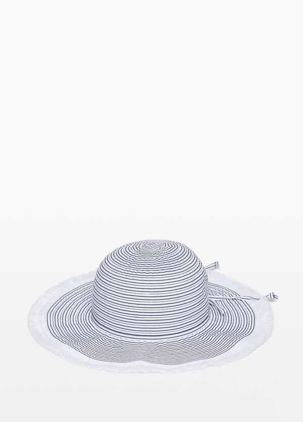 Fringed wide brim hat with stripes