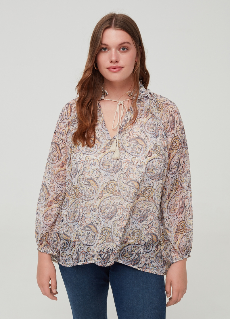 Curvy blouse with lurex and pattern image number null