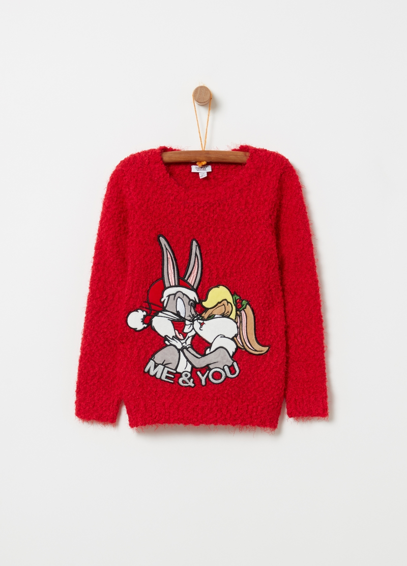 Knitted pullover with Lola and Bugs Bunny embroidery image number null