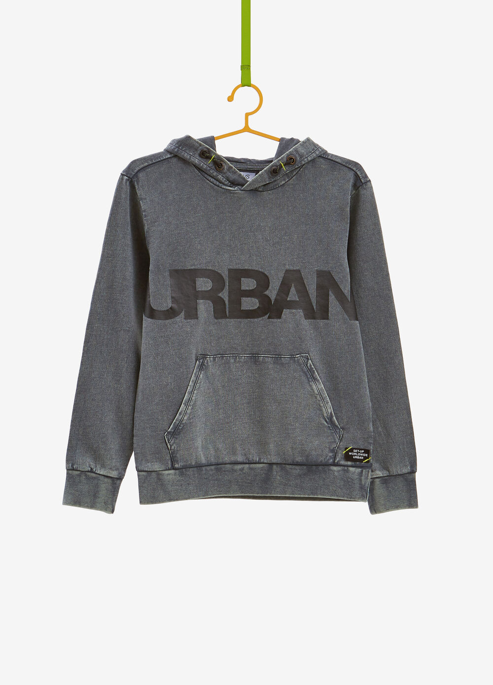 Cotton sweatshirt with fading and print