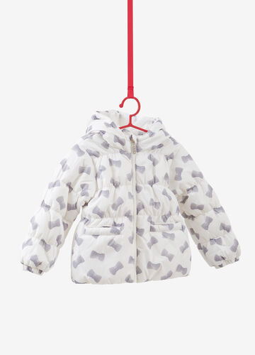 Down jacket with patterned hood