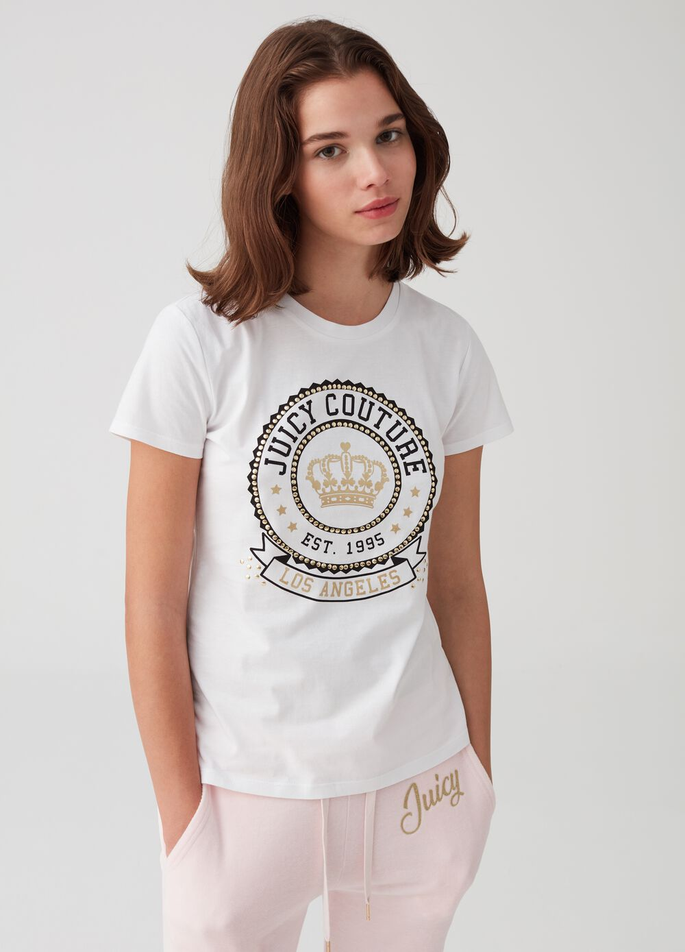 100% cotton T-shirt with print and studs