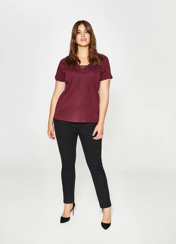Curvy cotton T-shirt with laces