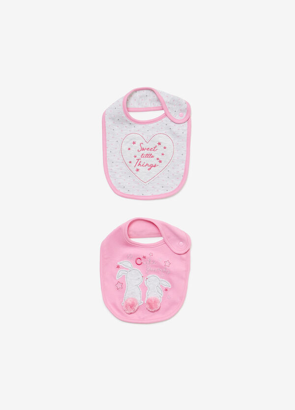Two-pack patterned and patch cotton bibs
