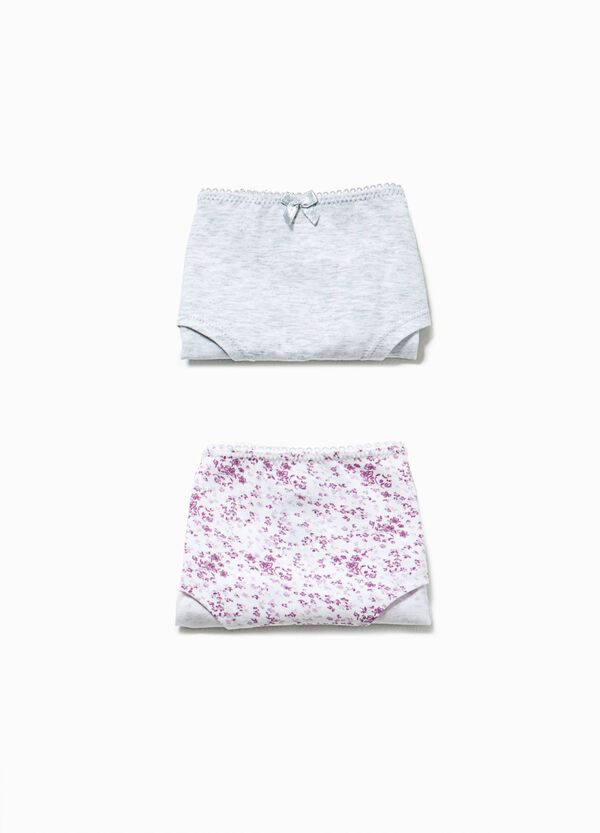 Two-pair pack solid colour and patterned French knickers | OVS