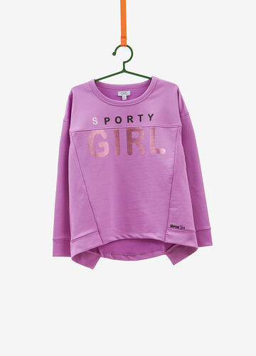 Stretch sweatshirt with lettering print
