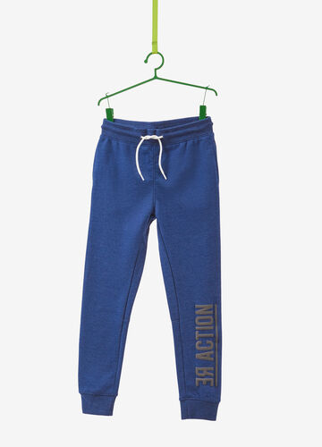 Cotton blend joggers with printed lettering