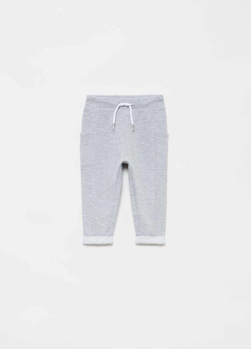 Organic cotton and viscose joggers with pockets image number null