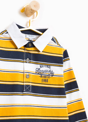 Striped cotton jersey polo shirt with print