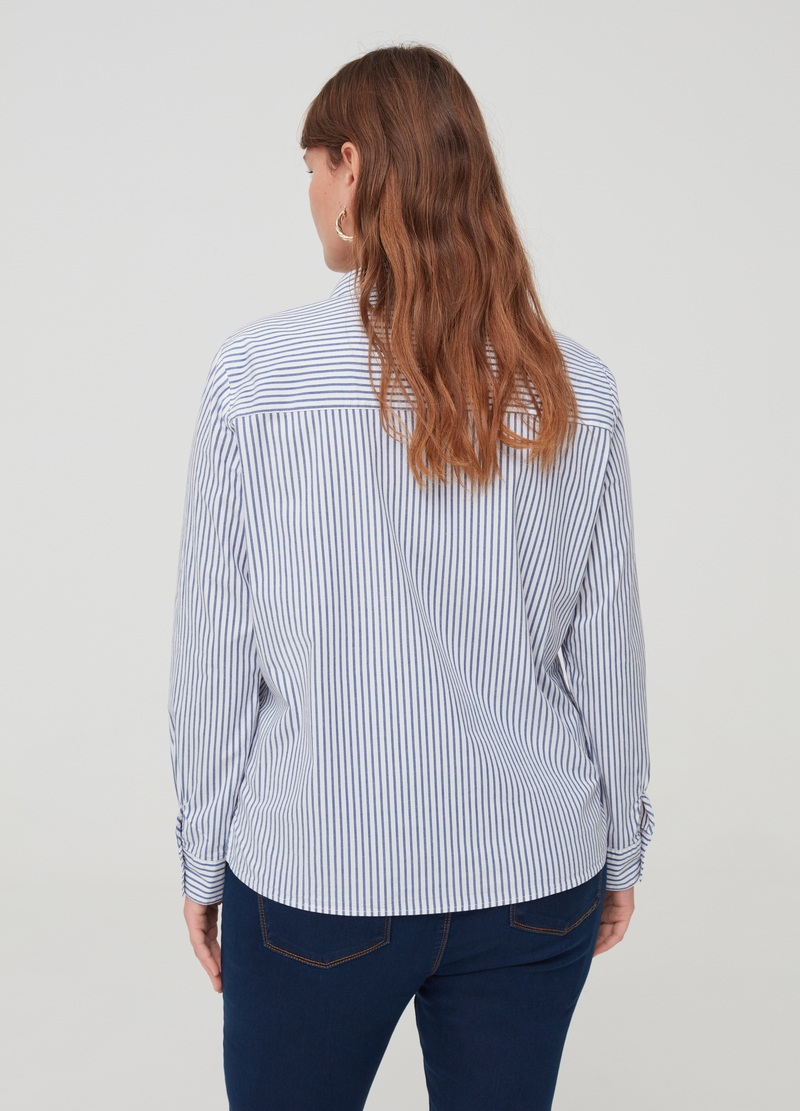Curvy striped shirt with splits image number null
