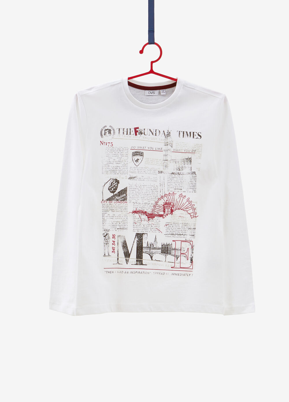 T-shirt with newspaper print and long sleeves