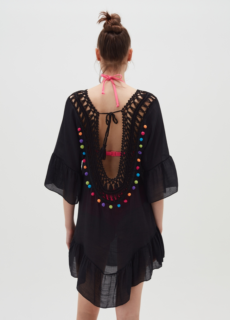 Beach cover-up with insert and pom poms image number null