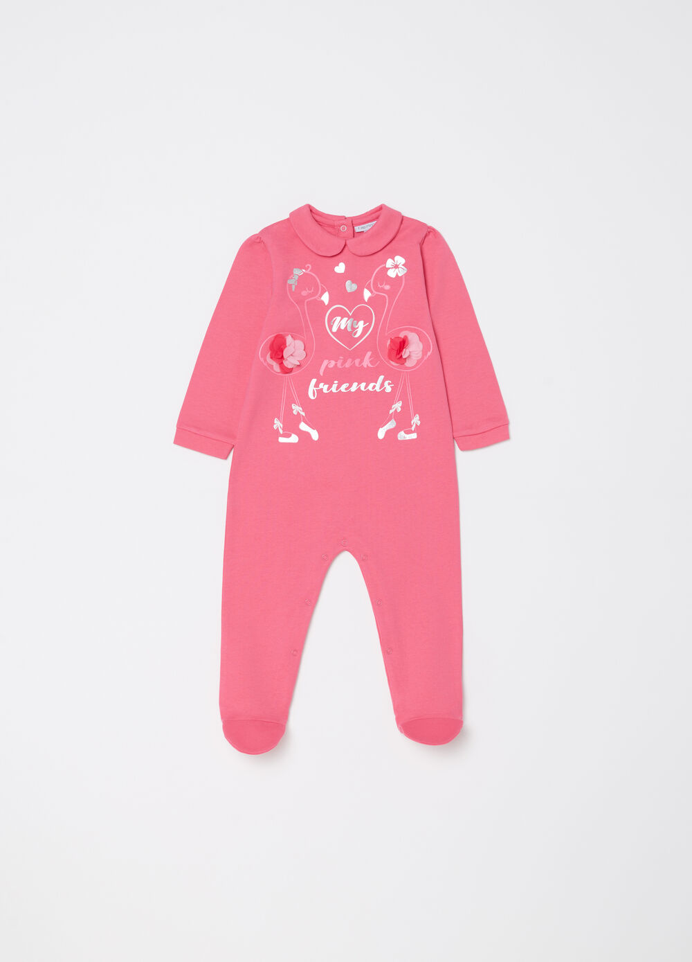 Onesie with feet and goose motif print