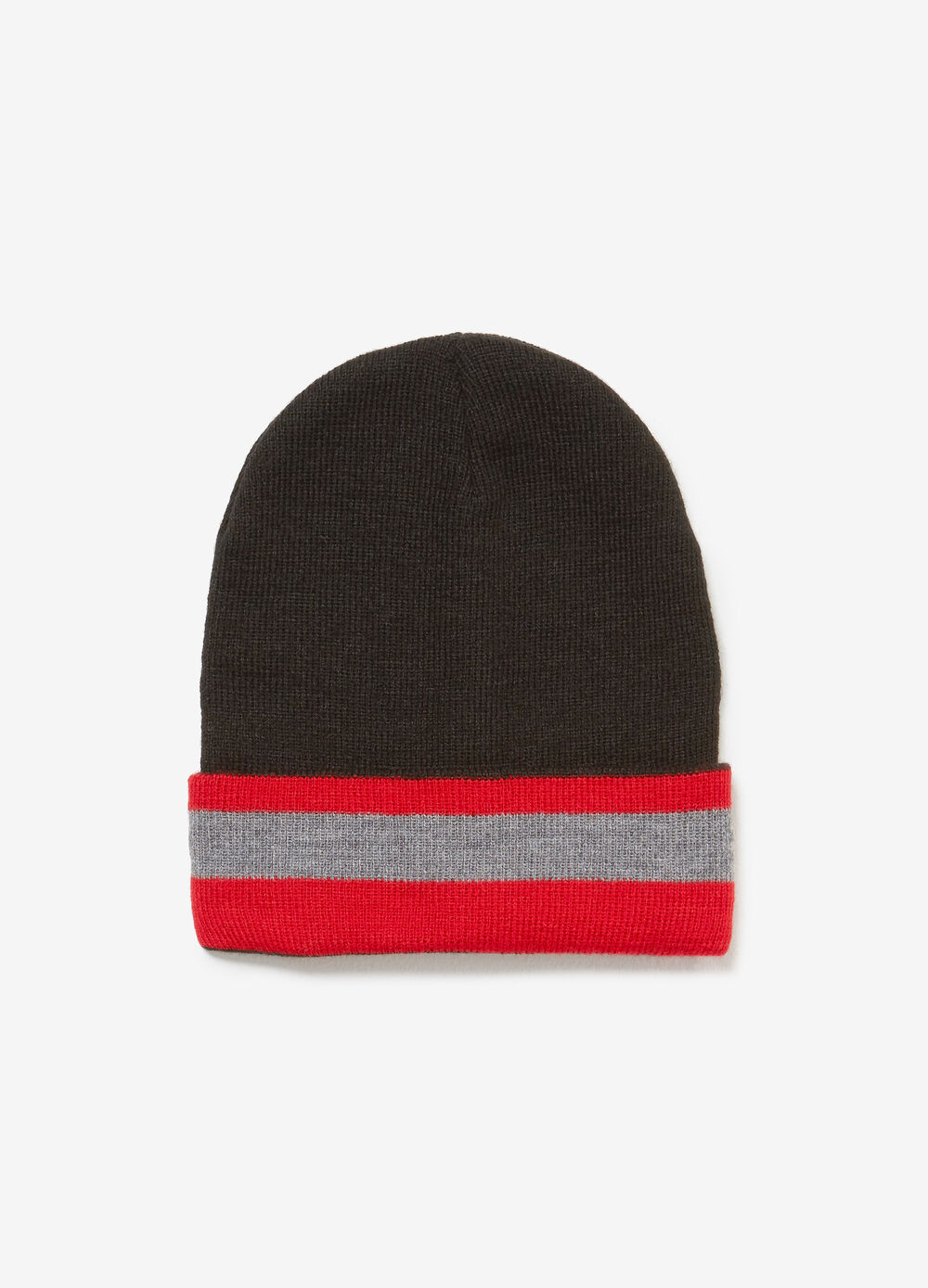 Beanie cap with striped turn-up