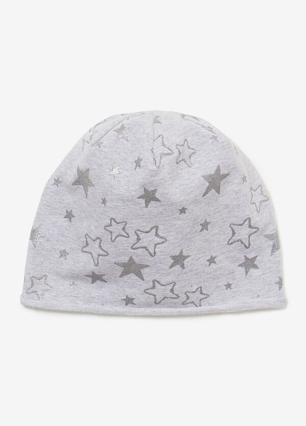Jersey beanie cap with glitter stars