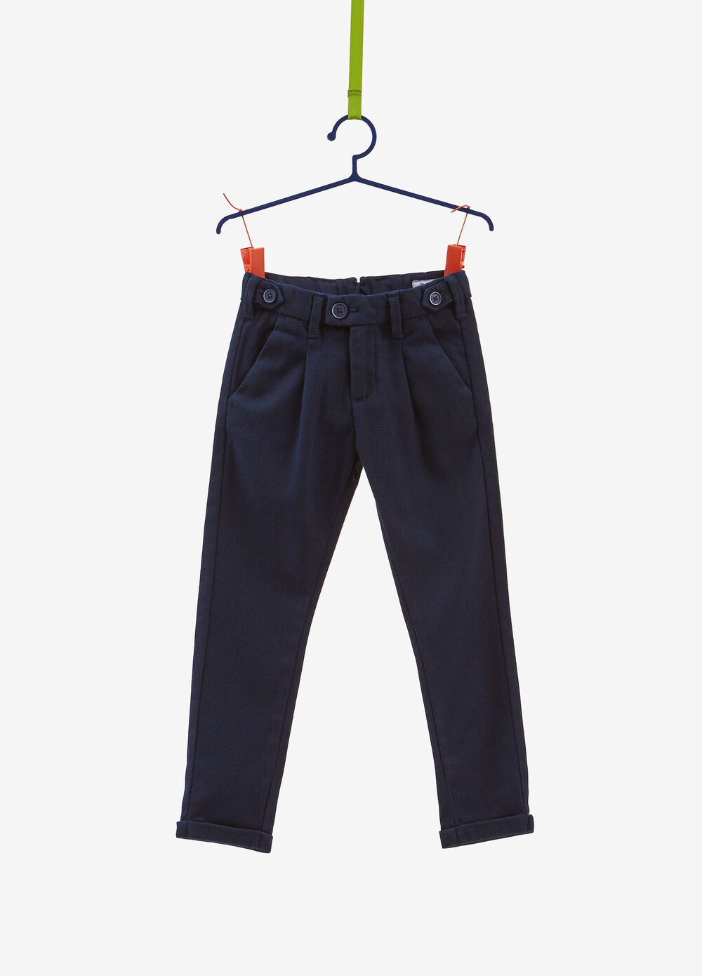 Stretch chino trousers with pleating