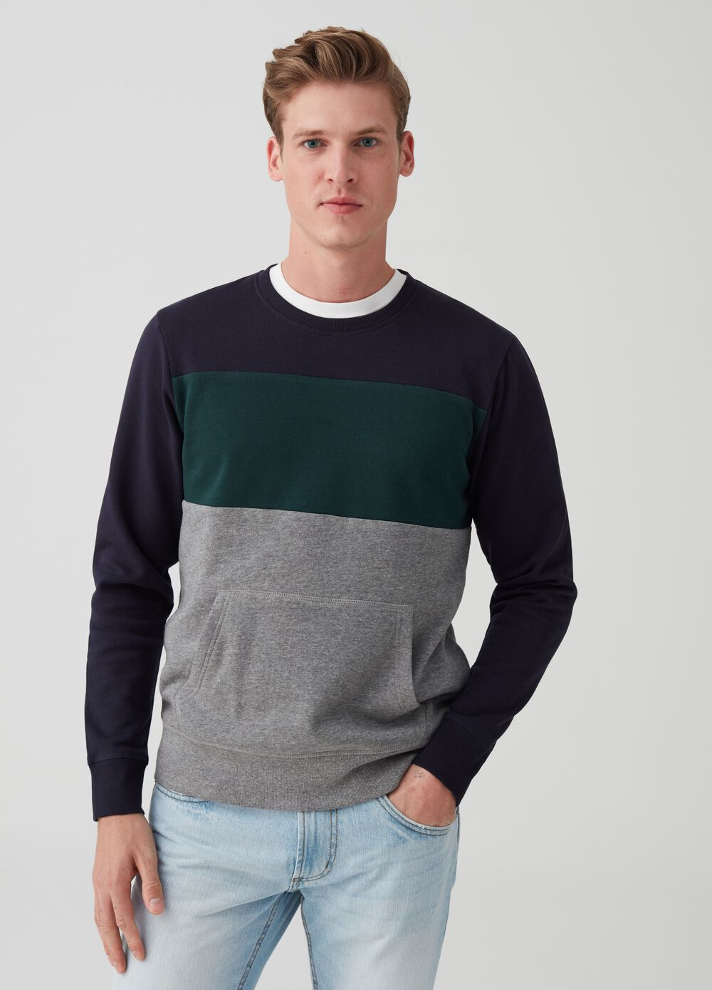 Organic stretch cotton colourblock sweatshirt