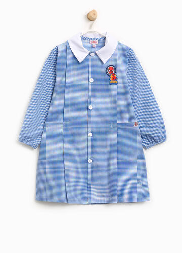 Micro check smock with Spiderman patch