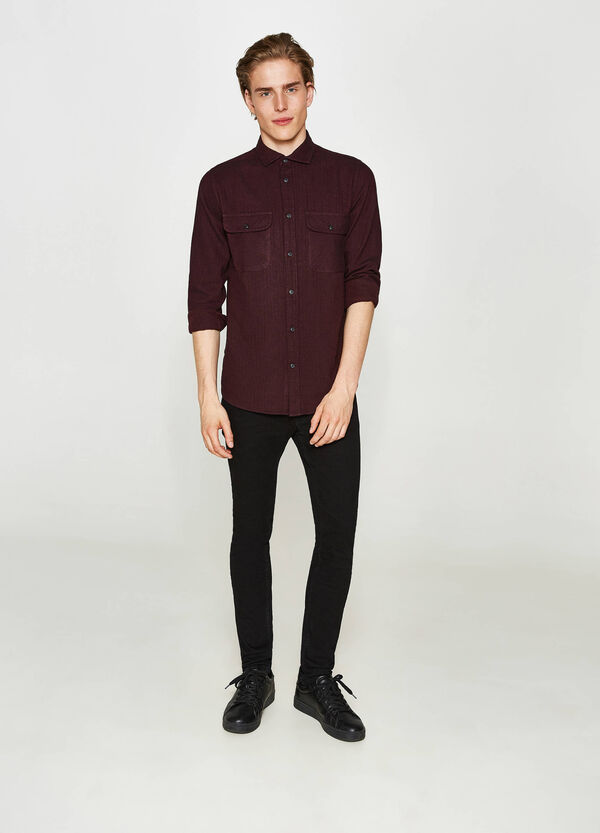Casual flannel geometric shirt