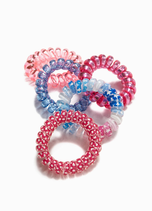 Five-pack hair elastics with screw design