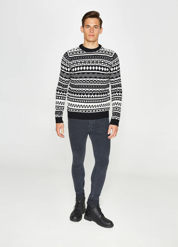 Patterned knitted jacquard pullover