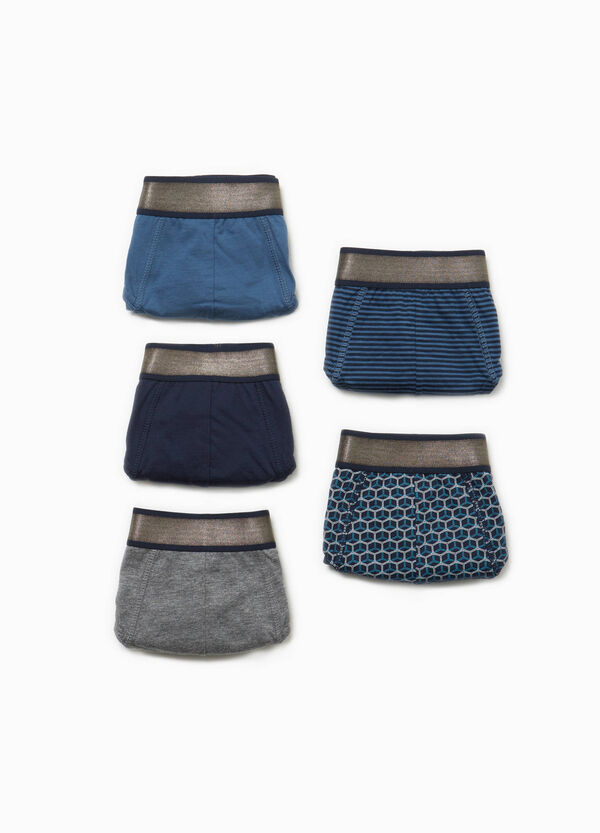 Five-pack solid colour and patterned briefs