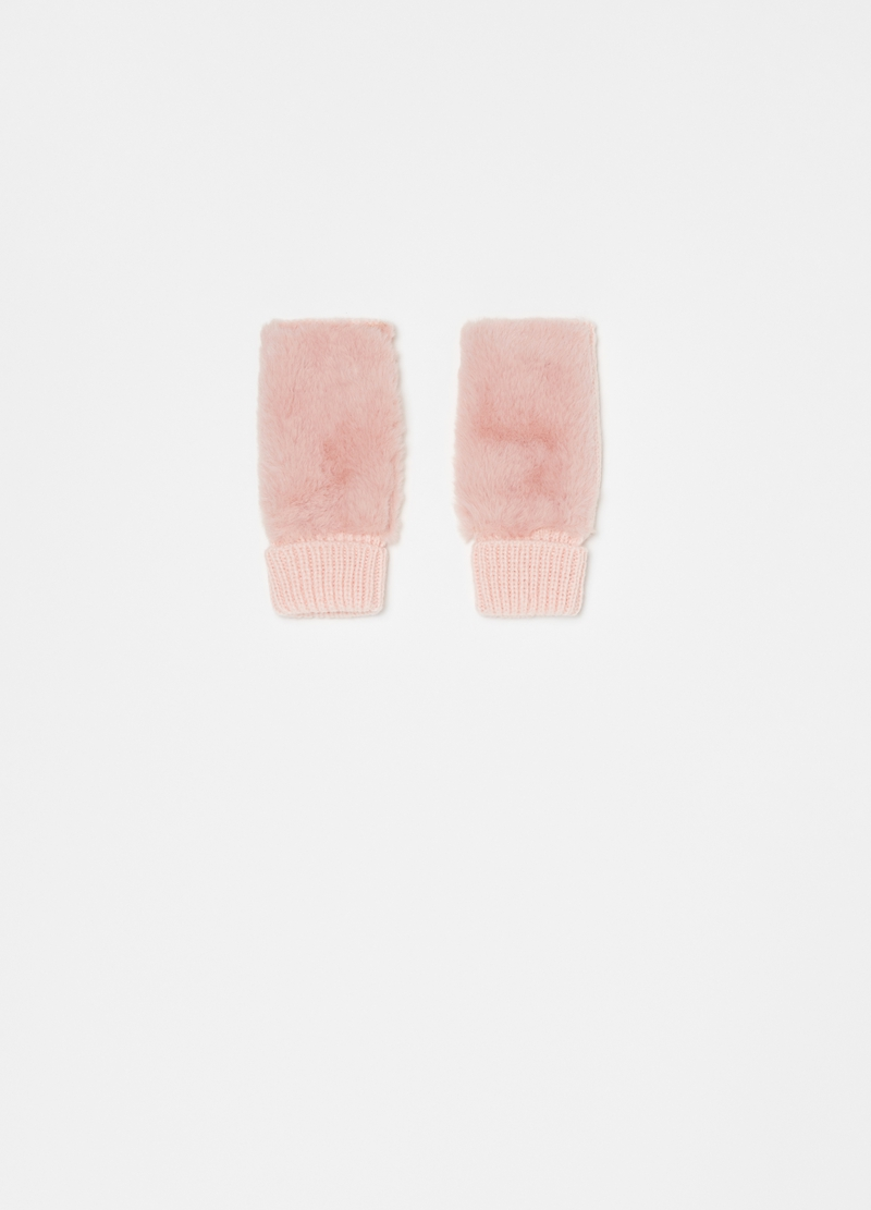 Fingerless gloves with faux fur image number null
