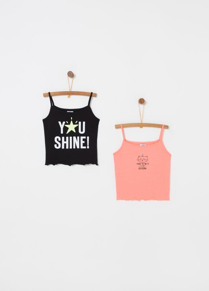 Set due top stretch con stampa